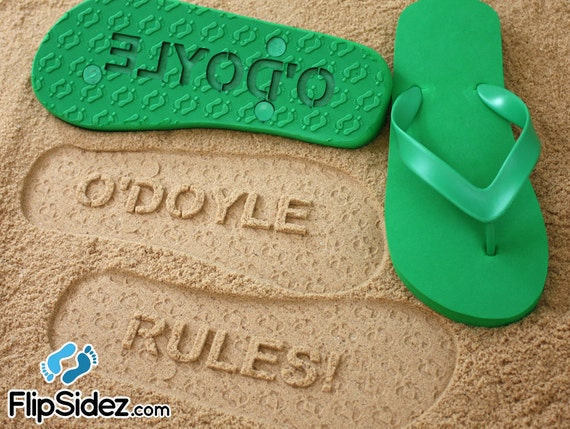 Custom Sand Imprint Flip Flops Personalized Name *Check size chart before ordering*