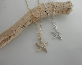 CZ starfish charm necklace