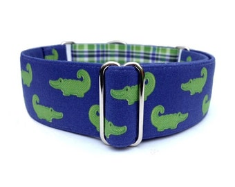 "Preppy Alligators Dog Collar - 1"" or 1.5"" Blue Green Plaid Crocodile Buckle or Martingale Collar"
