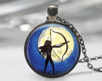 Archery Necklace, Art Pendant, Water Color Jewelry,
