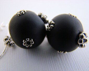 Earrings, Dangle, Silver, Black, Polymer Clay Beads, For Her