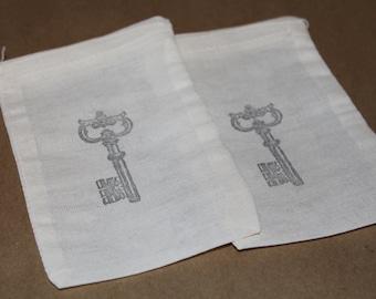 Set of 10 Hand stamped Skeleton Key Muslin Gift Favor Bags100% organic made in america
