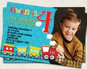 Train Birthday Party Invitation, personalized red blue green, photo invite (Digital File) you-print