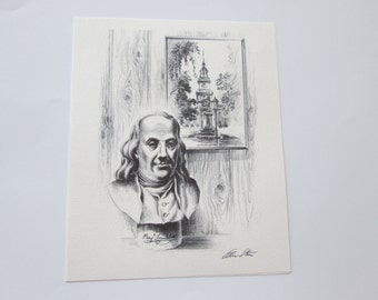 two printed Alec Stern blank cards, Ben Franklin   and  Lincoln .  FREE SHIPPING USA  6.00 for both cards