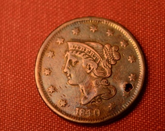 1840 Braided Hair Liberty Head Large Cent - Small Date Variety - Holed - DETAILS