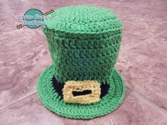 Crochet Baby Leprechaun Hat Pattern : Baby Leprechaun Top Hat Spring Green Crochet by ...