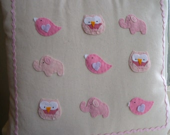 Cute Pink Elephant, Owl and Bird Pillow Cover - Perfect for a gift, New Baby or Childs Bedroom.