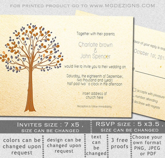 Items similar to printable wedding invitation template for Free printable tree wedding invitations
