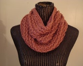 Lace  Cable  Cowl.Knit  Pink.Mom.Spring/Fall.Infinity scarf.Round Scarf.Neck  Warmer. Dusty Pink Select  color..