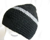 Winter Sale - Unisex Black Beanie Hat with Grey Stripe for Smaller Head or Child