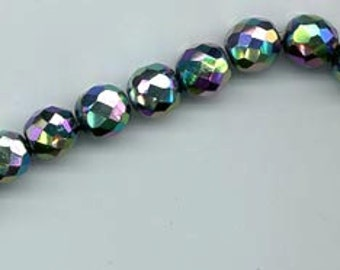One strand of 12 vintage carnival glass beads - 9.5 mm