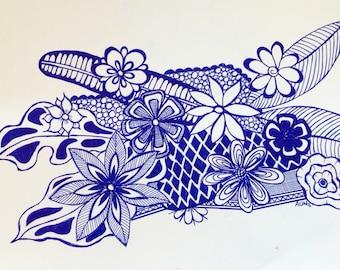 Original Blue Ink pen flower doodle drawing 2