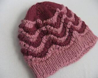 Two Tone Rose Hand Knit Women's Alpaca Beanie Hat