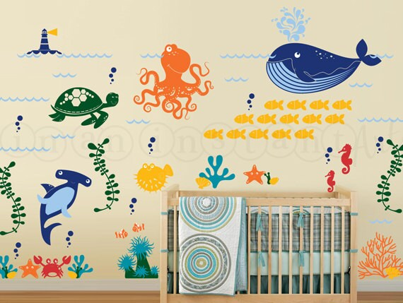 ocean friends wall decal under the sea wall decal octopus. Black Bedroom Furniture Sets. Home Design Ideas
