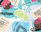 Benartex Fabric - Baker's Delight - Love to Bake - Aqua-Choose Your Cut 1/2 or Full Yard