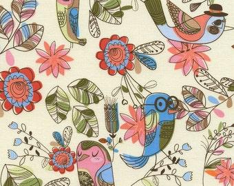 Timeless Treasures - Fun Birds - Cream - Novelty Fabric-Choose Your Cut 1/2 or Full Yard