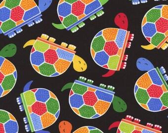 Timeless Treasures - Fun Rainbow Jamboree Turtles - Black - Novelty Fabric-Choose Your Cut 1/2 or Full Yard
