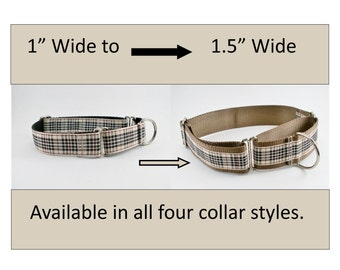 "Upgrade to 1.5"" Wide Collar from 1"" Wide - Custom Dog Collar - Choice of Color - 25mm to 38mm width"