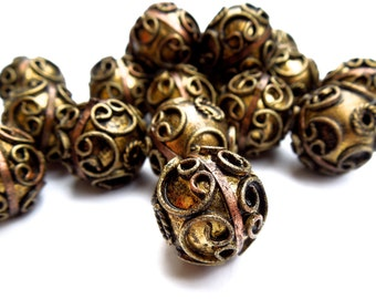 SUPPLY: 5 Large Ethnic Metal Centerpiece Beads - Metal Hollow Bead - 17mm -  (7-A1-00003826)