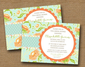 Floral Bridal Shower Invitation | Spring Floral Wedding Invitation | Aqua & Coral Invitation | Christian Rehearsal Dinner | DIY PRINTABLE