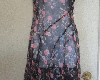 90's Floral Sheer Crepe Dress