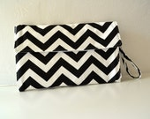 All In One Changing Pad and Diaper Clutch in Black and White Chevron