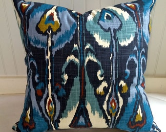 Blue, Teal, Red, Gold and Creme IKat Pillow Cover in Robert Allen Designer Fabric