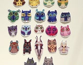 Owl Stickers set of  21