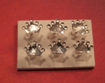 Silver Crowns/Tiaras Mirror Style Push Pins/ Thumb Tacks Set of 6