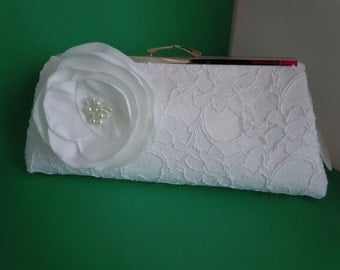 White Lace Wedding Clutch