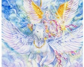 Angel Art, Unicorn Art, Star-Bearer Angel with Unicorn, Pegasus, Pegacorn, Rainbow, Angel Art print  ,11x 14 art  print