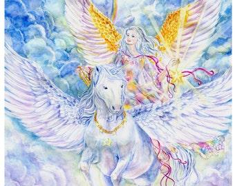 Angel Art, Unicorn Art, Star-Bearer Angel with Unicorn, Pegasus, Pegacorn, Rainbow, Angel Art print  ,10.75 x 14inches art  print