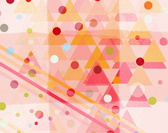 Abstract Art Print, Graphic Design Poster, Sorbet Colours, Triangle Print, Tile Pattern, Orange, Pink, Stripes, Summer Decor - Candy Sorbet
