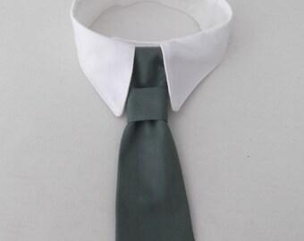 Dog White Shirt Collar and Dog Sage Tie  - SET - Custom Made Dog Neck Tie and Dog Shirt Collar