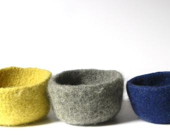 WOOLY FELTED BOWLS - three felted nesting bowls - ash grey, sunshine yellow, navy blue* 8