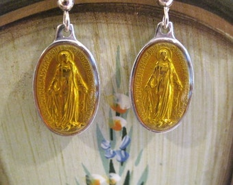 French miraculous medal Mary sterling silver yellow enamel earrings, miraculous medal Mary sterling silver earrings, religious medal Mary