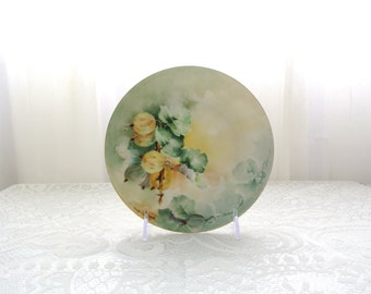Handpainted plate with yellow and green grapes marked D & C France