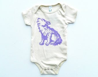 Organic Howlin Wolf Onesie / any size / hand printed / pick your print color