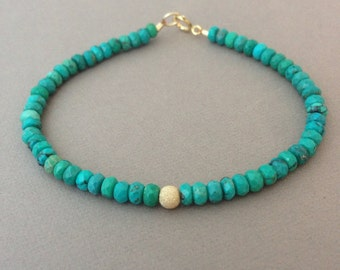 Faceted Turquoise Stone Beaded Gold Bracelet also available in Silver