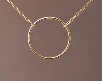Eternity Circle Gold Fill Necklace also in Sterling Silver and Rose Gold Fill