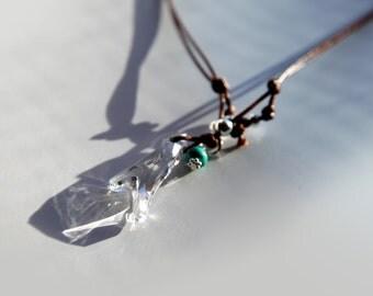 Swarovski crystal coral pendant necklace on cord