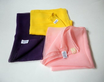 Vintage Vera Scarf Pink Yellow Made in Japan Square Neck Scarves 1950's Women's Accessory set of 3