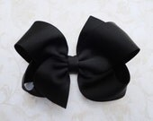 Large Black Twisted Boutique Bow - 4 inch Bow - Black Grosgrain Hairbow - Baby Hairbow - Girls Hairbow
