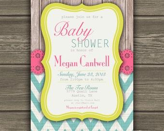 Chevron Baby Shower Invitation Pink Teal Yellow Custom DIY
