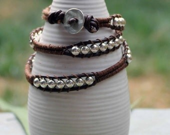 Sterling silver bead & leather wrap bracelet with leather button closure