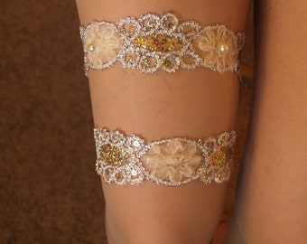 Brides WEDDING Garter Champagne Set Handmade, 2 Gorgeous Bling Garters, Champagne Gold, Single Garter, Lingerie, Wedding Night Accessory