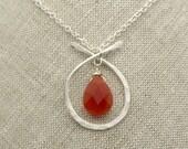 Zen Collection Long Sterling Silver Carnelian Necklace, Carnelian Pendant Necklace
