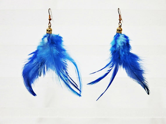 royal blue feather earrings bohemian feather jewelry by