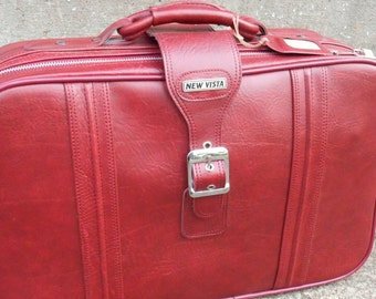 Vintage Red Faux Leather Suitcase with Keys Soft Case Weekend Bag New Condition