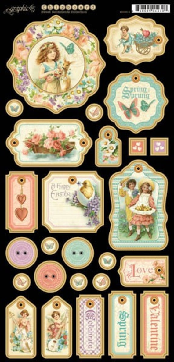 Graphic 45 - Sweet Sentiments - Chipboard  1
